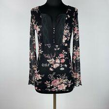 Denim & Supply Ralph Lauren Womens M Floral Mesh Lace Popover Top Long Sleeve