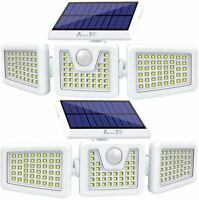 2 Pack Wireless Solar Motion Sensor Lights Outdoor, 800LM 128LED IP65 Waterproof
