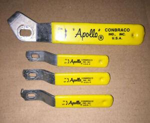 4 New Old Stock Apollo Ball Valve Handles Stainless Yellow Grip Steampunk Arts