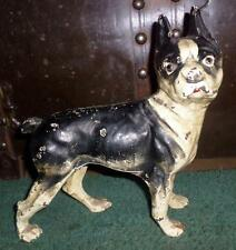"Antique/Vintage Hubley Cast Iron Boston Terrier French Bulldog 9"" Doorstop R6"