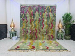 """Boujad Moroccan Vintage Handmade Rug 6'2""""x9'7"""" Berber Striped Colorful Wool Rug"""