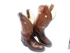 Double-H Buckaroo 5154 Women's 7 M Brown Leather Pull On Western Cowboy Boots