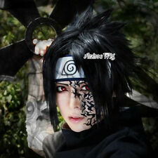 Uchiha Sasuke Black 35CM Short Layered Men Anime Cosplay Wig + Wig Cap