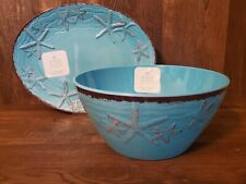 Sigrid Olsen MELAMINE Turquoise Brown Starfish Coastal Serving Bowl Platter 2pc