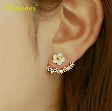 #1135 Newly Design Fashion Flower Rhinestone Gold Plated Ear Stud Earrings