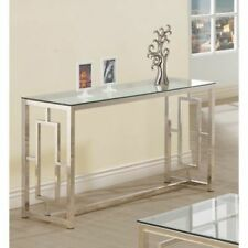 Coaster Furniture Modern Glass Top Sofa Table Console Table, Stain Nickel Finis