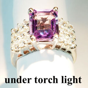 CHANGE BLUE PURPLE SPINEL 4.30 CT.SAPPHIRE 925 STERLING SILVER RING SZ 5.75 GIFT