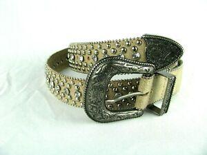 Guess Beige Tan Belt  XL Silver Studs Jeweled Rhinestones Western Embellished