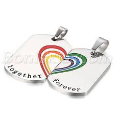 2pcs Couples Men Women Heart Puzzle Rainbow Steel Dog Tag Pendant Necklace Chain