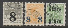 Denmark - 1921/3, 2 x Surcharged stamps & 1 x Optd - F/U - SG 216/17, S218