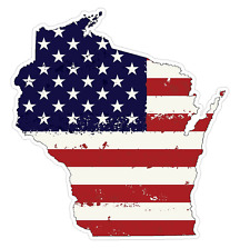 Wisconsin State (J49) USA Flag Distressed Vinyl Decal Sticker Car/Truck Laptop