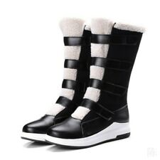 Women's Multi Strappy Warm Mid Calf Boots Low Heels Winter Snow Shoes Size 34-43