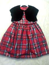George Girl's Holiday Dress Red Green Plaid Black Velvet Shrug Size 6