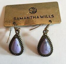 SAMANTHA WILLS Signed~Gold Tone & Black Trim~Purple Marbled Dangle Earrings~NWT