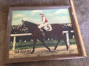 Vintage  SEABISCUIT horse racing jockey   poster with frame  23x27