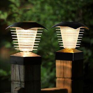 Solar Spiral Post Caps LED Lights 2pk-2 Way Install -Waterproof-Outdoor- Black