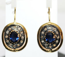 1.30ct ROSE CUT DIAMOND SAPPHIRE 925 SILVER VICTORIAN LOOK DANGLE EARRING
