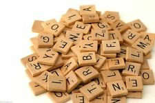 200 Wooden Scrabble Tiles Black Letters & Numbers for Crafts Art Wood UK SELLER