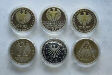 Deutschland 2009, 10 Euro Gedenkmünze, alle 6 Stück, PP, Silber