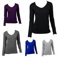 NEW Women's Long Sleeve V Neck Soft Stretch T Shirt Tee Top Basic Plain Colours