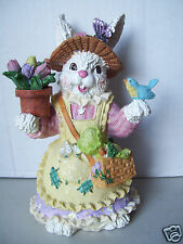 Easter bunny Resin Type Wearing Dress Hat Apron & Carrying bird & Pot Of flowers