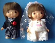 "SEKIGUCHI BRIDE & GROOM Wedding Dolls Set Vintage Made in Japan Vinyl MIJ 6"" H"