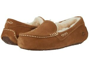 Women's Shoes UGG ANSLEY Suede Indoor/Outdoor Moccasin Slippers 1106878 CHESTNUT