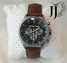 New Michael Kors Men's Gage Chronograph Grey Dial Brown Leather Watch MK8536