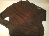 Harley Davidson Legendary Motorcycles Mens Half Zip Brown Knit Sweater 2XL EUC