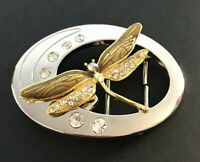 Detailed Gold Toned Dragonfly Rhinestones Insect Belt Buckle Belts Buckles