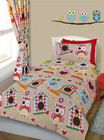 Kids Multi Printed Owl Duvet Set & Cot Bed Children Adults Single Double