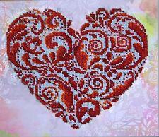 Herz Lace heart Stickpackung mit Perlen Stickset Stickvorlage Stickbild 36