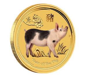 Australien Perth Mint Lunar II Jahr des Schwein 2019 Pig 1/10 oz 999 Goldmünze