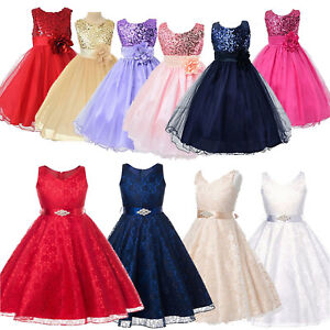 Flower Girl Kid Pageant Princess Wedding Bridesmaid Birthday Party Sequins Dress