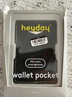 Heyday Wallet Pocket Black Fits Most Smartphones Cell Phone Stick-On Wallet