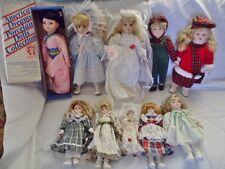Lot Of 10 Porcelain Dolls-Cabinet Size Boy & Girl Twins Bride Heritage Mint