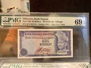 1981-83 Malaysia 1 Ringgit - Superb Gem Uncirculated PMG69 EPQ