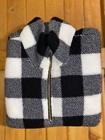 Women's Old Navy White/Black Plaid Sherpa 1/4 Zip Pullover Size Large NWT!