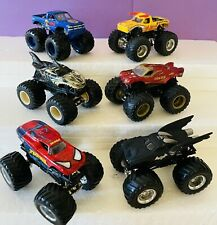 Lot of 6 Hot Wheels Monster Jam Trucks 1:64 Diecast Metal w Superhero Cars