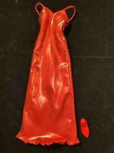 Franklin Mint Princess Diana Red Lame Gown Gently Displayed For Vinyl 16 In Doll