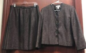 Pendleton Womens 2 Piece Skirt Suit Set Brown Marled Button Wool Blend Petite 16