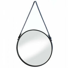 round leather mirror 18 round round hanging wall mirror with faux leather strap home décor mirrors for sale ebay