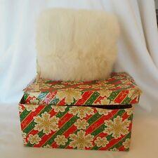 Vintage Child White Rabbit Fur Muffler Hand Warmer colorful Box