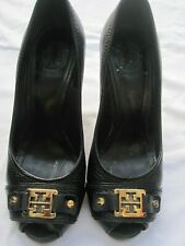$295 Tory Burch Carnell High Open Toe Wedge Black Sz 5
