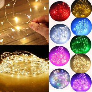 Fairy Lights Battery Operated Warm/Cool White LED Copper/Silver Micro Wire Lamp