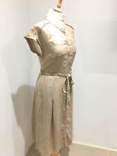 Monsoon Long Mushroom Linen Wrap Dress with Rope Belt RRP £59 UK Size 8 (New)