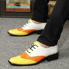Mens Lace Up Wing Tip Patent Leather Oxfords Dress Formal Wedding Shoes Yellow 9