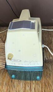 Vintage Oster Snowflake Ice Crusher White Model 551 Turquoise Blue Tray Retro