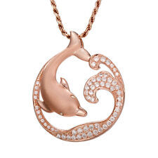 ROSE GOLD STERLING SILVER 925 HAWAIIAN DOLPHIN OCEAN WAVE SLIDE PENDANT CZ