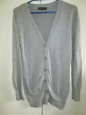 Ladies Jay Jays Size S Thin Knit Cardigan Grey Button Front Cotton Blend